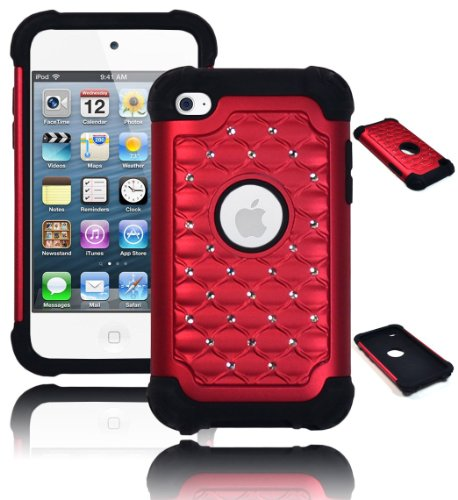 iPod Touch 4 Case, Bastex Heavy Duty Hybrid Soft Black Si...