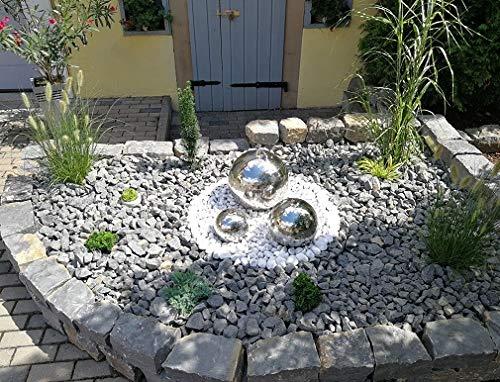 Kugelbrunnen 3er-Set 40//30//20 cm Springbrunnen Gartenbrunnen Edelstahl Poliert LED