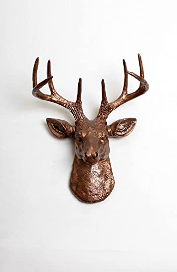 Amazoncom Mini Bronze Resin Faux Deer Head Wall Mount The Mini