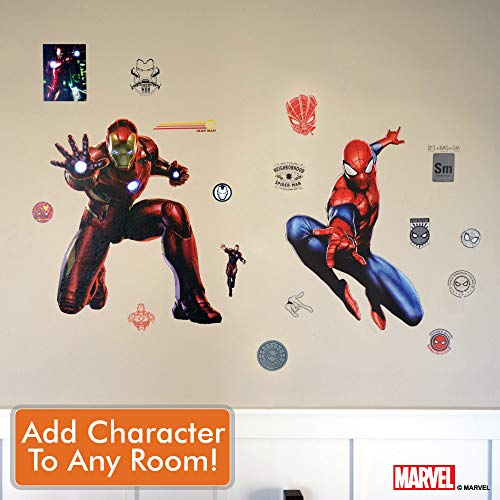 Marvel Spider-Man & Iron Man Bundle Augmented Reality Stickers for Kids Rooms - Kids Wall Decals for Bedroom are Easy to Put Up On Wall & Peel Off - Best Bedroom Décor by Marvel (Image #5)