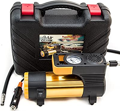 PERFECT GIFT! 12 Volt Portable Tire Inflator - Durable Air Compressor Pump with Two Connect Options (DC Lighter Plug AND Battery Clips), Low Noise, Long Cord, LED Light, Gloves, Carry Case by Yashun