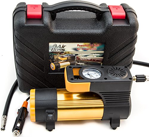 LIMITED TIME SPECIAL! 12V TIRE AIR COMPRESSOR KIT with Advanced Inflator Pump - Car, Truck, Bike, Sports Balls - 2 Connect Options, LED Light, Nozzles, Extra Fuse, Gloves, Carry Case, Ideal for Trunk 12v Ac Battery Booster