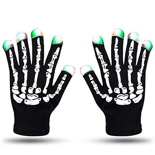 LED Skeleton Gloves ZOETOUCH Finger Lights 6 Modes Rave Gloves Party LED Lighted Gloves For Halloween Costume Christmas Dance Dubstep Party (Lighted Costume)