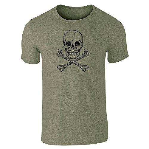 Skull and Cross Bones Heather Military Green 2XL Short Sleeve T-Shirt