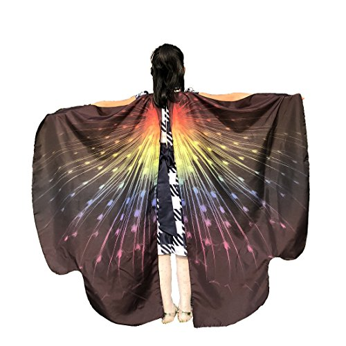 EONGERS Butterfly Wings Costume Party Prom Children Dress up Novel Costumes (Peacock (Rainbow Butterfly Party Mask)