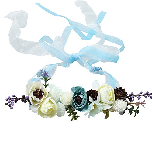 AWAYTR Bohemia Flower Crown Headband - Exquisite Pinecone Leaf Berry Flower Headband Flower Halo Wreath (Blue ribbon)