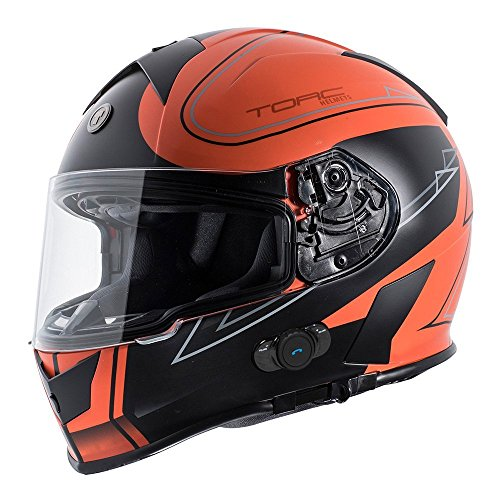 (TORC T14B Bluetooth Integrated Mako Full Face Motorcycle Helmet With Graphic (Stryker Orange) Large )
