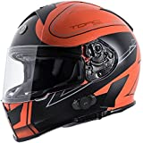 Torc T14B Blinc Loaded Stryker Mako Full Face Helmet (Flat Orange with Graphic, Small