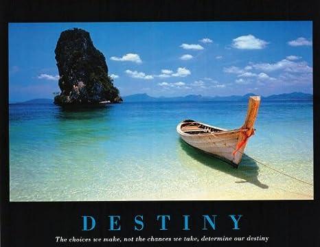 Amazon.com: Destiny (Barco en la playa) Arte Imprimir Cartel ...