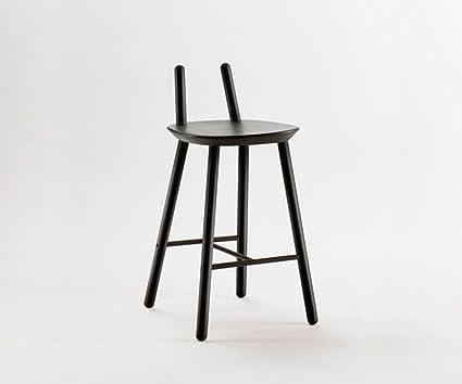 Sgabello di bar design legno naive moderno nero: amazon.it: casa e