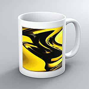 Resumen amarillo diseño impreso taza de té y café - 11 oz taza de cerámica impreso gruesos, imagen impresa en ambos lados, blanco, Ideal para regalo, taza, arte único, foto, impresión, imagen, obra - para el hogar, oficina, trabajo, hombre, Mujer