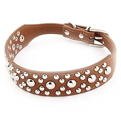 DealMux metal fivela único pino Faux Leather Rivet Decoração Pet Dog Correia de pescoço Collar M