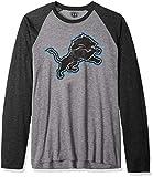 OTS NFL Detroit Lions Men's Triblend Raglan Tee, Distressed Iced, Large