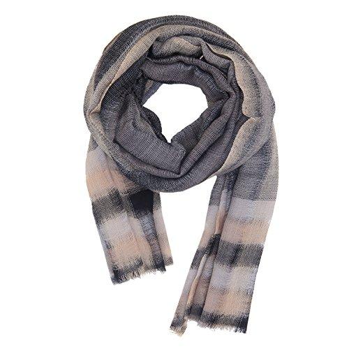 KASHFAB Kashmir Womens Mens Winter Fashion Stripes Scarf, Wool Silk Stole, Soft Long Shawl, Warm Pashmina Blue (Merino Scarf)