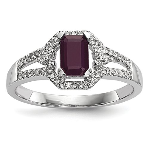 ICE CARATS 14k White Gold Diamond Red Ruby Band Ring Size 7.00 Gemstone Fine Jewelry Gift Set For Women Heart by ICE CARATS (Image #1)