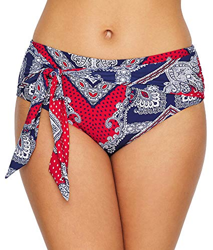 - Seafolly Women's Wide Side Bikini Bottom Swimsuit with Sash Belt, Bandana Bay Chili, 12 US