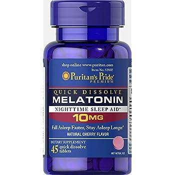 Puritans Pride Quick Dissolve Melatonin 10 mg Cherry Flavor-45 Tablets