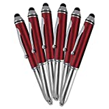 SyPen Stylus Pen for Touchscreen Devices, Tablets, iPads, iPhones, Multi-Function Capacitive Pen With LED Flashlight, Ballpoint Ink Pen, 3-In-1 Pen, 5PK, Red