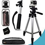 Xtech® Pro Series 60 inch Tripod and Handheld Extendable Monopod POLE Kit for GoPro HERO4 Hero 4 - GoPro Hero3+ - GoPro Hero3 - GoPro Hero2 - GoPro HD Motorsports HERO - GoPro Surf Hero - GoPro Hero Naked - GoPro Hero 960 - GoPro Hero HD 1080p - GoPro Hero2 Outdoor Edition Digital Cameras