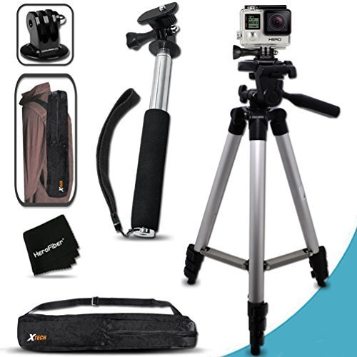 Xtech® Pro Series 60 inch Tripod and Handheld Extendable Monopod POLE Kit for GoPro HERO4 Hero 4, GoPro Hero3+, GoPro Hero3, GoPro Hero2, GoPro HD Motorsports HERO, GoPro Surf Hero, GoPro Hero Naked, GoPro Hero 960, GoPro Hero HD 1080p, GoPro Hero2 Outdo by Xtech
