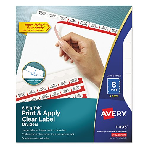 Avery Big Tab Dividers, Print & Apply Clear Label, Index Maker Easy Apply Strip, 8 Printable Tabs, 5 Sets (11493) by Avery
