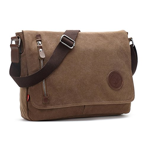 Kigurumi Canvas Tasche Herren Schultertasche Messenger Bag für Student Tasche Braun 3WmMI5