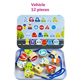 Elloapic Lacing Beads Stringing Beads Maze with 12pcs big Beads Preschool Fine Motor Skills Toys for Toddler - Vehicle Cars