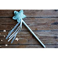 Crochet Magic Wand, Star Fairy wand, Dress up fairy costume, Photography props, Mint princess wand, Handmade by TomToy, 33cm