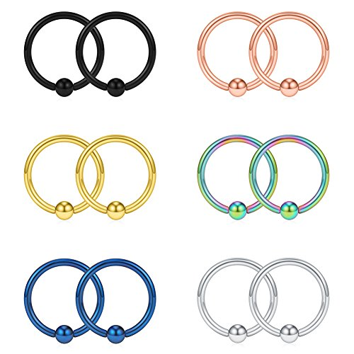 SCERRING 16G 10mm Captive Bead Piercing Ring Stainless Steel Nose Septum Tragus Daith Helix Lip Eyebrow Hoop Rings 12PCS (Mix Color) 16g Captive Ring