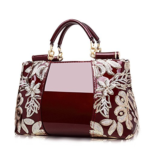 (jvps 29-r) Embroidered Leather Ladies Bag Women Enamel Diagonal Diagonal Ol Commuter Bag All 5 Colors Pu High Quality Red Wine