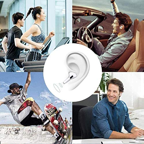 Bluetooth 5.0 Headset Earbuds Headphones Built-in Mic with 24Hrs Charging Case, IPX5 Waterproof, 3-D Stereo Noise Reduction, Pop-ups Auto Pairing, Suitable for iPhone Airpods Pro/Android/Samsung