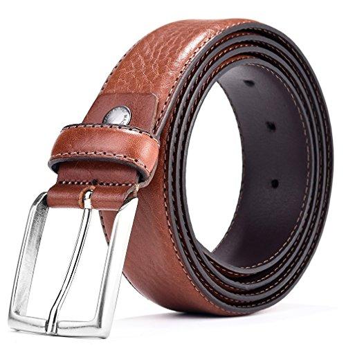 Men Italian Leather Designer Belt Business Style Pin Buckle Brown 35mm 40