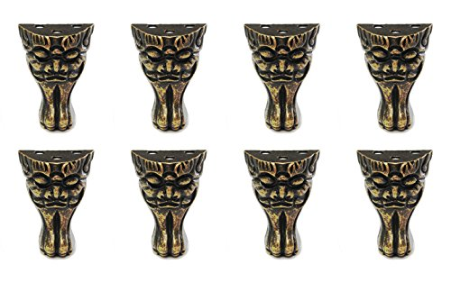 Actopus 8pcs Retro Face Jewelry Box Feet Brass Corner Antique Furniture Legs Decorative