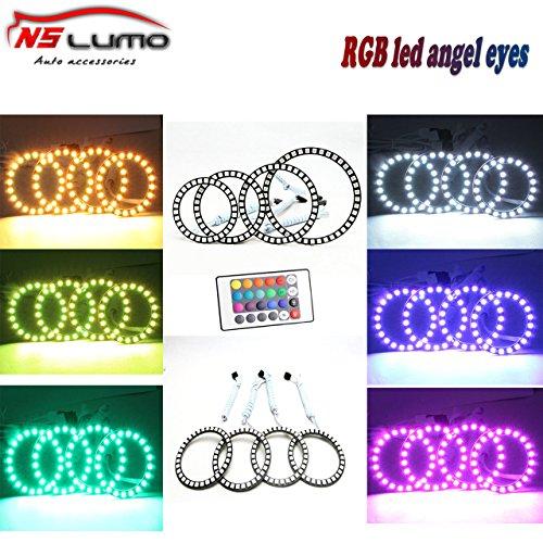 Newsun LED Angelic Eyes 12v Car Light ,90mm 33smd LED Halo Ring Light RGB Car Angel Eyes Multi-color RGB LED Angel Eyes Halo Rings