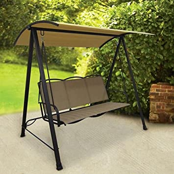 High Quality Classic Patio / Porch Sling Swing With Shade Canopy   Tan Seats 3