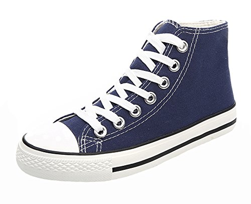 Womens Canvas Popuus Popuus Womens Blue Trendy High Sneakers Top FSEqSHxnY