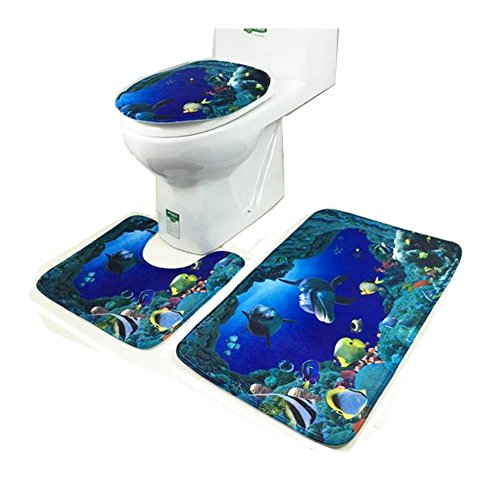Ufine 3 Pieces Blue Sea Dolphin Pedestal Rug Lid Toilet Seat Cover Bathroom Mat Carpet Set - 3 Piece Pedestal