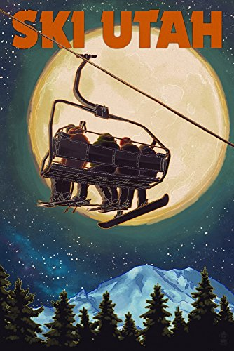 Ski Utah - Ski Lift and Full Moon (9x12 Art Print, Wall (Anderson Art Print)