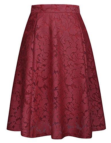 Back A-line Zip Skirt (GRACE KARIN Women Fashion Flared Midi Skirt A Line High Waist Skirt Size L Wine Red)