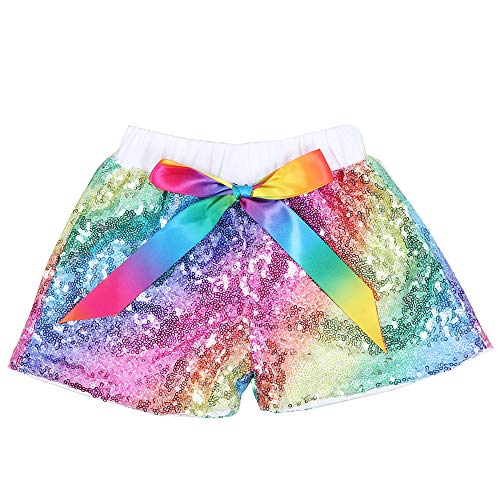 Cilucu Baby Girls Sequin Shorts Toddlers Sparkle Short Pants Kids Birthday Shorts Glitter on Both Sides Rainbow White 4t]()