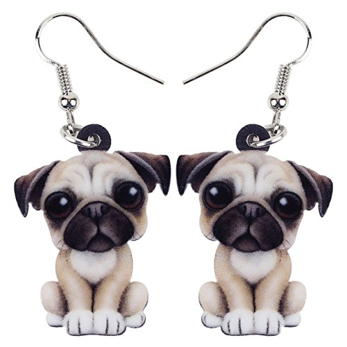 BONSNY Acrylic Sweet French Bull Pug Dog Earrings Drop Dangle Charms For Women Kids Girls Gifts