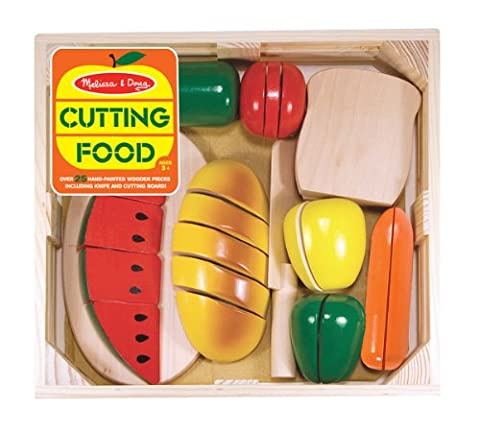 Melissa & Doug Cutting Food - Play Food Set With 25+ Hand-Painted Wooden Pieces, Knife, and Cutting - Hand Painted Train Toy