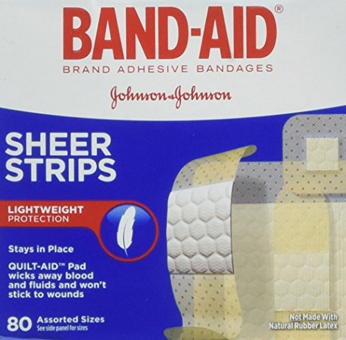 Sheer Strips - BAND-AID Sheer Strips Assorted 80 Each (Pack of 3)