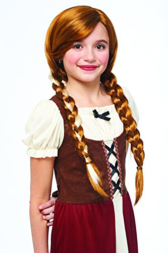 Braided Renaissance Wig (Kids Peasant Girl Natural Red Braided Pigtails Wig)