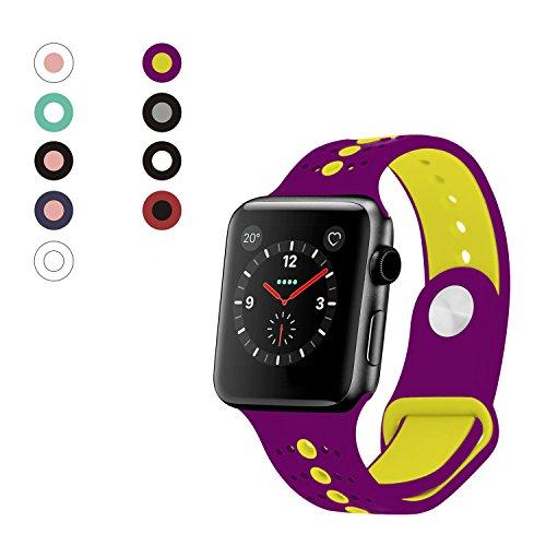White Series 180 Glass (Rockvee Sport Apple Watch Band 38mm 42mm Women Men, Soft Silicone Apple Watch Band Strap Replacement Iwatch Band for Apple Watch Nike+, Series 3, Series 2, Series 1 (D# Purple Yellow, 38mm))