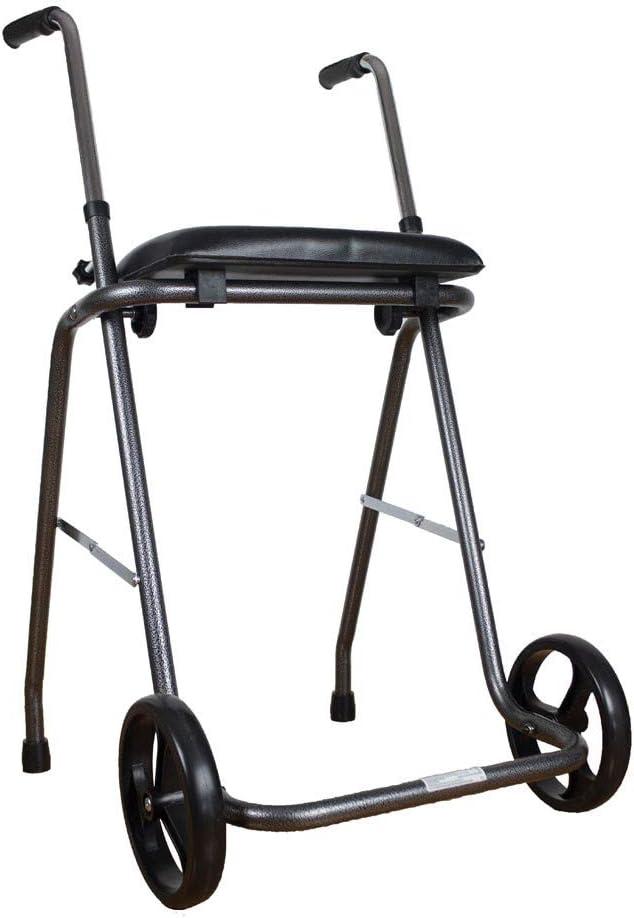 Andador plegable con dos ruedas y asiento