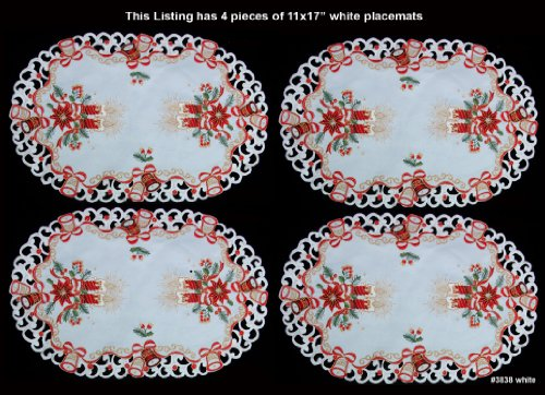(Creative Linens 4PCS Holiday Christmas Embroidered Red Poinsettia Candle Bell Placemats 11x17 White, Set of 4 Pieces)
