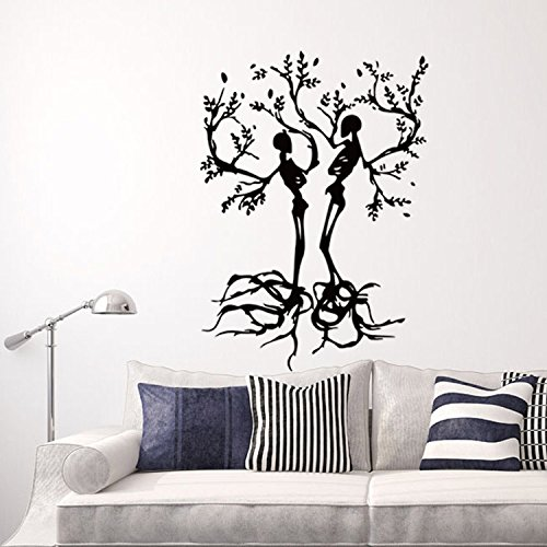 Homefind Interesting Couple Skull Love Trees Living Room Vinyl Carving Wall Decal Sticker for Halloween Party Home Decoration