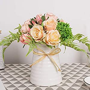 YUYAO Artificial Flowers Rose Bouquets with Vase Fake Silk Flower with Ceramic Vase Modern Bridal Flowers for Wedding Home Table Office Party Patio Decoration (Pink) 114