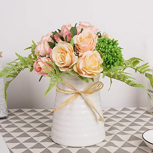 YUYAO Artificial Flowers Rose Bouquets with Vase Fake Silk Flower with Ceramic Vase Modern Bridal Flowers for Wedding Home Table Office Party Patio Decoration (Pink) ()